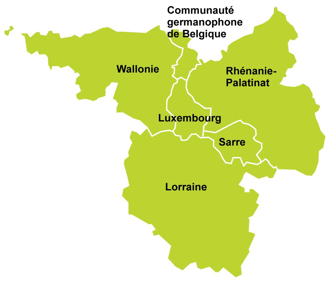 Carte Belgique Communautes Et Regions.Carte De La Grande Region Avec Les Communautes Participantes Sogeo